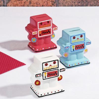 Diğer - Sevimli Robot Seramik Kumbara 10cm Asorti