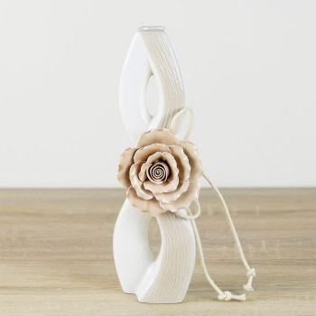 Sonsuzluk Tasarımlı Gül Kabartmalı Porselen Vazo 25cm