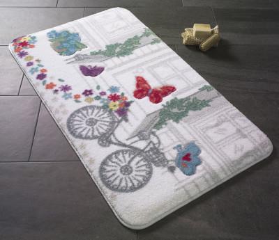 Confetti - Spilled Flowers Oymalı Banyo Halısı Kırmızı 50x57cm