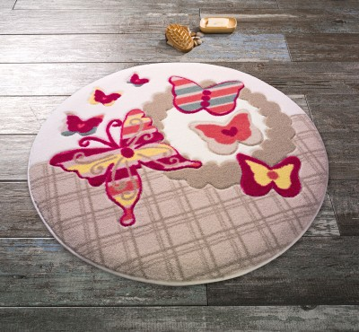 Confetti - Spring Circle Kelebekli Yuvarlak Banyo Halısı Bej 67cm
