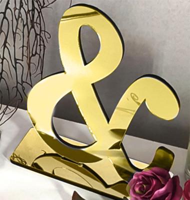 Diğer - Standlı Aynalı Dekor Ve Sembolü Gold 15cm