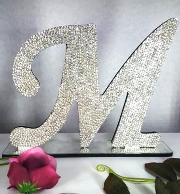 Standlı Parlak Taşlı Dekor Harfler Gümüş 15cm - Thumbnail