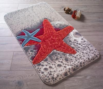 Confetti - Starfish Deniz Yıldızı Oymalı Banyo Halısı Kırmızı 80x140cm