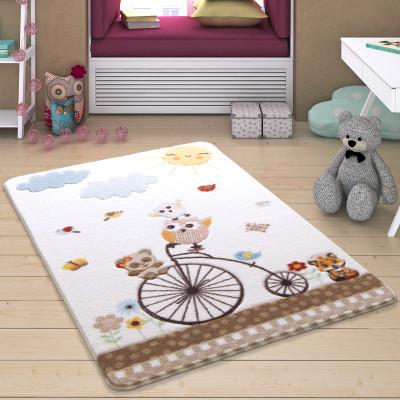 Diğer - Sunny Day Kuşlar ve Bisiklet Desenli Çocuk ve Bebek Odası Halısı Beyaz 133x190cm