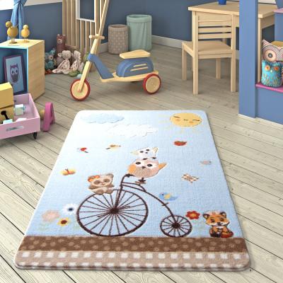 Diğer - Sunny Day Kuşlar ve Bisiklet Desenli Çocuk ve Bebek Odası Halısı Mavi 100x150cm