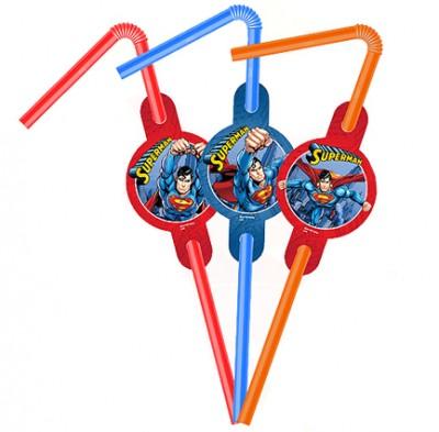 Diğer - Süperman Temalı Karışık Renkli Körüklü Pipet 6 Adet