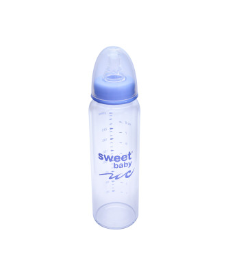 Sweet Baby - Sweet Baby Kristal Isıya Dayanıklı Cam Biberon 250ml Mavi