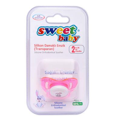 Sweet Baby - Sweet Baby Silikon Damaklı Emzik 6-18 Ay Pembe