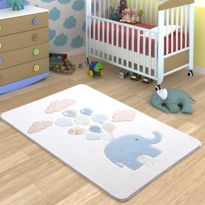 Diğer - Sweet Elephant Balon ve Fil Desenli Çocuk ve Bebek Odası Halısı Beyaz 100x150cm