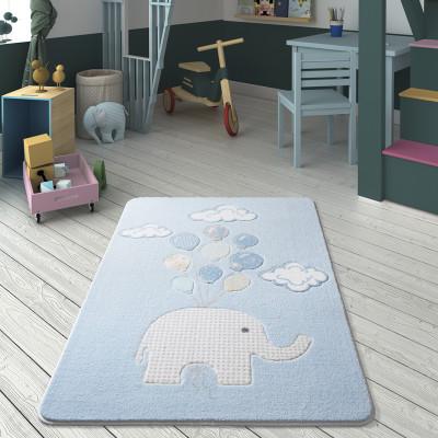 Diğer - Sweet Elephant Balon ve Fil Desenli Çocuk ve Bebek Odası Halısı Mavi 100x150cm