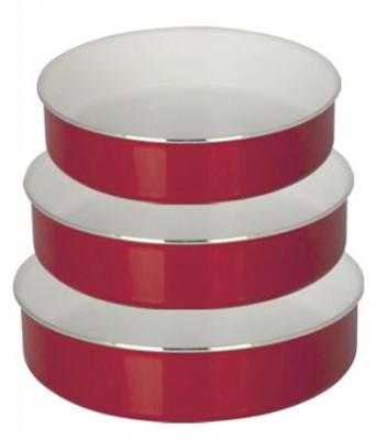 Taç Mutfak - Taç Kırmızı Beyaz 3lü Tepsi Set