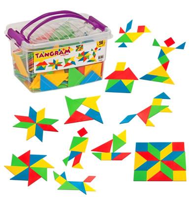 Diğer - Tangram Eğitici Puzzle Seti 56 Parça