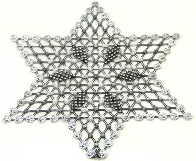 Diğer - Taşlardan Çiçek Desenli Yıldız Şeklinde Kasnak İşi Örtü Siyah 6 Parça