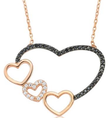 Tekbir Silver - Tekbir Silver Dörtlü Kalp Rose Kaplama Gümüş Kolye
