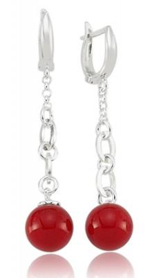 Tekbir Silver - Tekbir Silver Sallantılı İnci Taşlı Gümüş Küpe Kırmızı