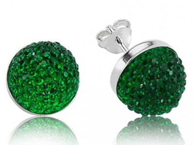 Tekbir Silver - Tekbir Silver Swarovski Taşlı Yuvarlak Küpe Yeşil