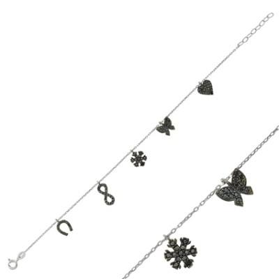 Tekbir Silver - Tekbir Silver Zirkon Taşlı Gümüş Şans Bilekliği Siyah