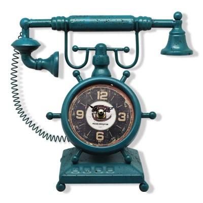 Time Gold - Time Gold Antika Telefon Tasarımlı Masa Saati Petrol Yeşili