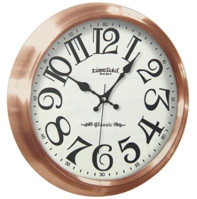 Time Gold - Time Gold Classic Yazılı Yuvarlak Gerçek Cam Duvar Saati