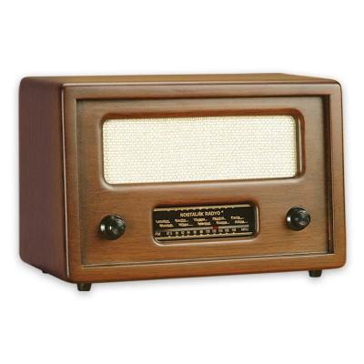Time Gold - Time Gold Dekoratif Nostaljik Ahşap Radyo Kahverengi 15x10cm