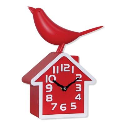 Time Gold - Time Gold Ev Şeklinde Kuşlu Masa ve Duvar Saati Kırmızı 20x30cm
