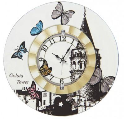 Time Gold - Time Gold Galata Tower Yazılı Kelebek Motifli Yuvarlak Mdf Duvar Saati