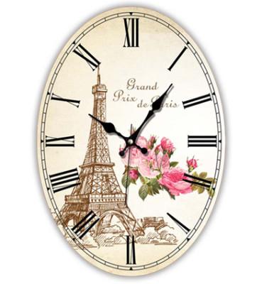 Time Gold - Time Gold Mdf Paris Motifli Romen Rakamlı Oval Duvar Saati Bej
