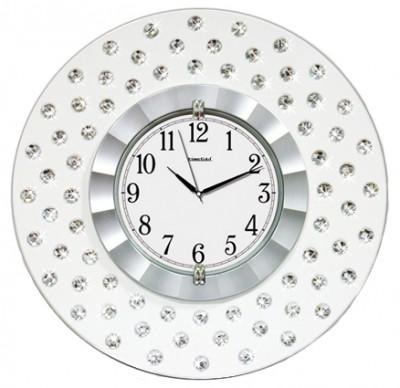 Time Gold - Time Gold Parlak Taşlı Yuvarlak Gerçek Cam Mdf Duvar Saati Beyaz