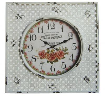 Time Gold - Time Gold Rose De Provence Yazılı Çiçek Motifli Kare Cam Duvar Saati