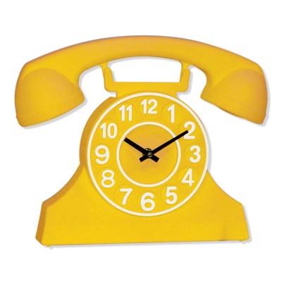 Time Gold - Time Gold Telefon Şeklinde Plastik Gövde Duvar ve Masa Saati Sarı