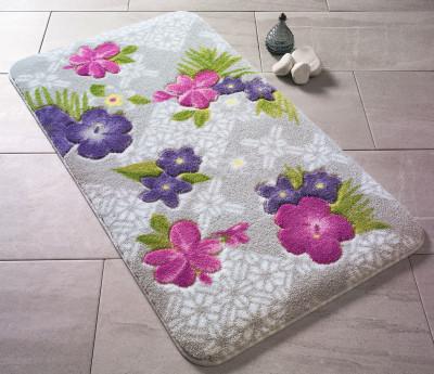 Confetti - Tropikal Çiçek Desenli Oymalı Banyo Halısı Mor 50x57cm
