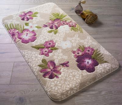Confetti - Tropikal Çiçek Desenli Oymalı Banyo Halısı Pembe 50x57cm