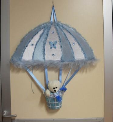 Diğer - Uçan Balon Şeklinde Ayıcıklı Erkek Bebek Kapı Süsü Mavi
