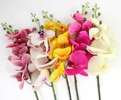 Diğer - Uzun Dal Islak Yapay Orkide Çiçeği Krem