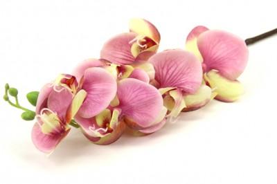 Diğer - Uzun Dal Islak Yapay Orkide Çiçeği Pembe Tonları