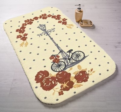 Confetti - Vintage Bisiklet Oymalı Banyo Halısı Açık Kahve 57x100cm