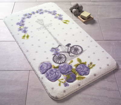 Confetti - Vintage Bisiklet Oymalı Banyo Halısı Mor 50x57cm