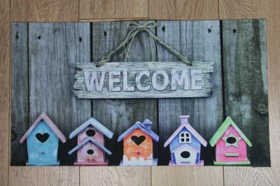 Diğer - Welcome Kuş Yuvası Fotoğraflı Kapı Önü Dikdörtgen Paspas 70x39cm