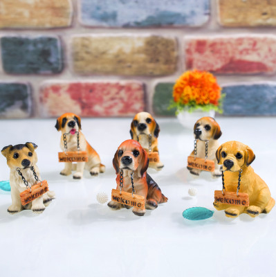 Diğer - Welcome Tabelalı Mini Köpek Biblo 9cm Asorti