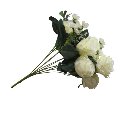Diğer - Yapay Çiçek Papatyalı Gül Demeti 50cm Beyaz
