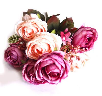 Diğer - Yapay Çiçek Pıtırcıklı Çift Renk Gül Demeti 45cm