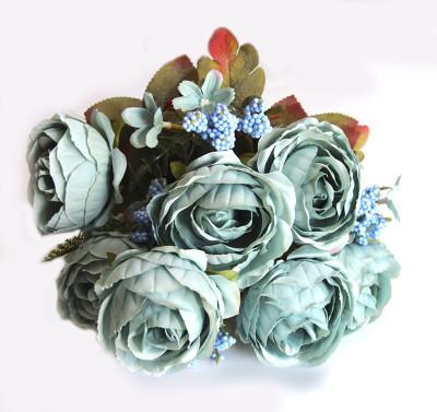 Diğer - Yapay Çiçek Pıtırcıklı Gül Demeti 45cm Mavi