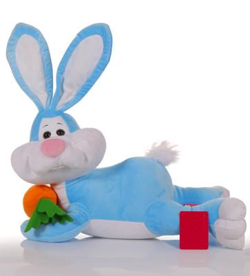 Diğer - Yatan Havuçlu Tavşan Peluş Oyuncak 50cm Mavi
