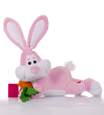 Diğer - Yatan Havuçlu Tavşan Peluş Oyuncak 50cm Pembe