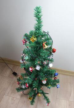 Yılbaşı Ağacı Seti 90cm Çam Ağacı 100lü Işıklandırma 36 Adet Süs