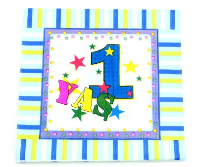 Diğer - 1 Yaş Doğum Günü Kağıt Peçete Mavi 12 Adet