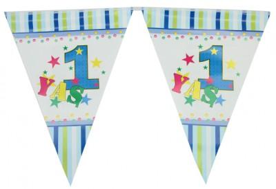 Diğer - 1 Yaş Doğum Günü Partisi Flama Bayrak Mavi