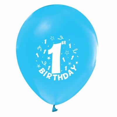 Diğer - 1 Yaş Doğum Günü Temalı Parti Balonu Mavi 20 Adet