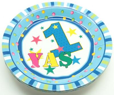 Diğer - 1 Yaş Doğum Günü Yuvarlak Karton Tabak Mavi 12 Adet