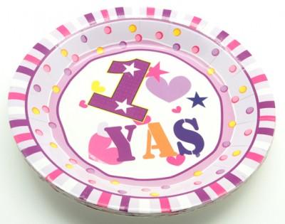 Diğer - 1 Yaş Doğum Günü Yuvarlak Karton Tabak Pembe 12 Adet